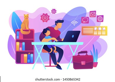 Freelancer with child working on laptop. Parent working with son. Home office. Remote worker, employee schedule, flexible schedule concept. Bright vibrant violet vector isolated illustration