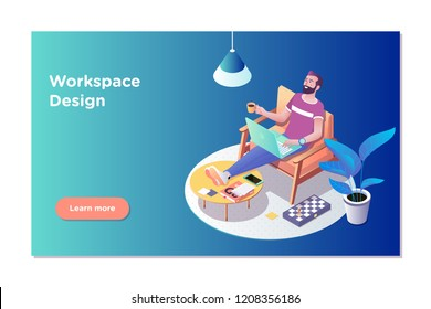 Freelancer concept, coworking people. Freelancer man at his laptop easely in working office.Isometric vector illustration