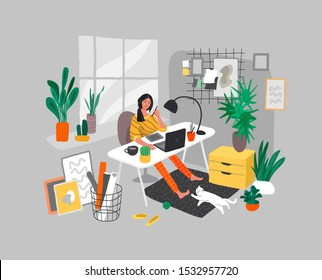 Freelancer designer girl working in nordic style home office with cat. Daily life and everyday routine scene by young woman in scandinavian style cozy interior with homeplants. Cartoon vector