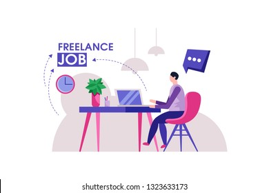 Freelancer designer. Man modern home office design. Confident busy male freelancer in trendy style doing remote job in cozy workspace.