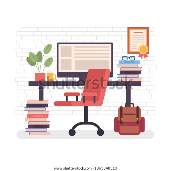Freelancer Empty Home Workplace Freelance Work Stock Vector Royalty Free 1363348310