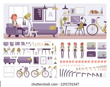 Freelancer girl room interior, home office creation kit, workspace set, furniture, build own design with different wall, floor color constructor elements. Cartoon flat style infographic illustration