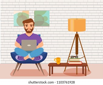 Freelancer happy young men working on the arm chair in room modern interior with floor lamp, potted plant. Vector illustration of guy sitting with computer and using laptop studying or doing network