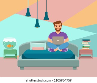 Freelancer happy young men working on the bed in home room. Vector illustration of guy sitting with computer and using laptop studying or doing network in inside house interior flat style.