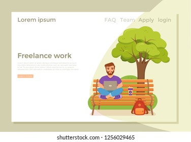 Freelancer happy young men working on the bench in park with coffee. Vector illustration of guy sitting with computer and using laptop studying or doing network in flat style.