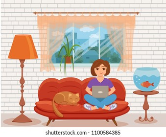 Freelancer happy young woman working on the sofa in home living room. Vector illustration of girl sitting with computer and using laptop studying or doing network in inside house interior flat style.