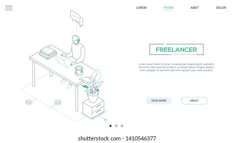 Freelancer - line design style isometric web banner on white background with copy space for text. A header with a male worker in headset working at the desk, drinking tea, speaking with a customer