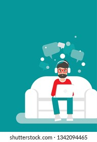 Freelancer man on sofa with computer, headphones and speech bubbles. flat vector illustration on turquoise background. outsourcer with laptop. chatting, home workplace, job online, internet.