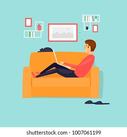 Freelancer man, works from home, sits on the couch. Flat vector illustration in cartoon style.