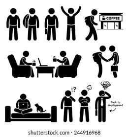 Freelancer Self-Employed Independent Worker Stick Figure Pictogram Icons