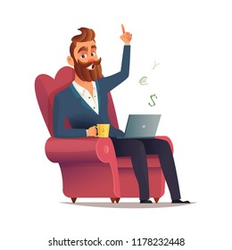 Freelancer site in a chair and earn money. Freelance concept vector illustration in cartoon style. Home office workplace. Hipster bearded freelancer working remotely from his laptop