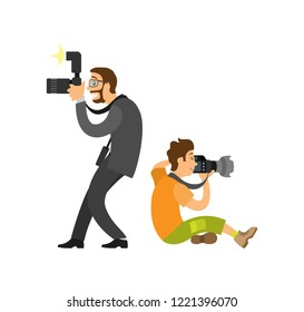 Freelancer taking photo from both sides, journalist in glasses wearing suit vector illustrations. Photographer and paparazzi, modern cameras with flash gear
