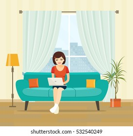Freelancer woman with notebook on sofa at home. Vector flat illustration .
