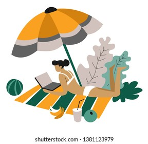 Freelancer woman on blanket with laptop distant work isolated female character in swimsuit under parasol with banana and drink beach resort or recreation and mobile business or job