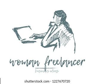 Freelancer woman using laptop computer, hand drawn vector illustration, sketch