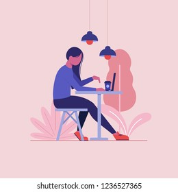 Freelancer woman is working at her laptop in cafe flat vector concept.