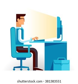 Freelancer at work. Flat web infographic concept vector