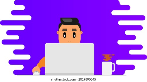 Freelancer Work on the Table with Coffee. DeveloperDesigner sitting on the Table and Working in Laptop.