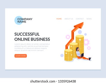 Freelancer worker woman character sitting and working at laptop online by internet. Distant successful freelance business concept. Vector flat cartoon graphic design banner poster web page