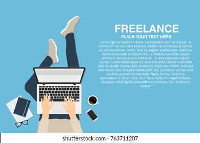 Freelancer working at home with laptop, top view. Concept of remote working or working at home. Outsourced employee, developer or web designer. Vector