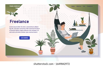 Freelancer working from home, man in hammock with laptop, vector illustration. Cozy atmosphere in comfortable home, website design. Freelance job, work remotely in comfort of home. Weekend leisure