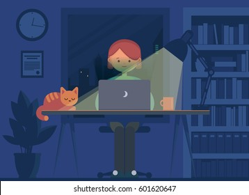 Freelancer working at night concept. Young woman sitting in the room with laptop, working, surfing internet or networking. Programmer, designer or writer night job. Flat design vector illustration.