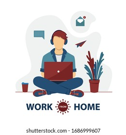 Freelancer are working on laptop at home. Remote work. Self-quarantine concept. Work at home during an outbreak of the COVID-19 virus. Coronavirus quarantine preventive measures. Vector illustration