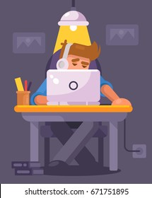 Freelancer works with laptop at home. Remote work. Young man working on computer at night in dark room. Flat Illustration. IT geek working on computer, vector illustration. Hacker cyber specialist.