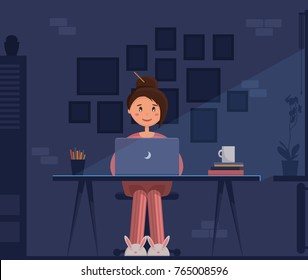 Freelancer young woman sitting in pijamas and bunny slippers at her home office with laptop at night, working. Moon light and no electrical light. Vector illustration, flat style, layered.