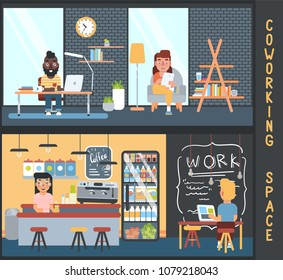Freelancers in coworking space. Vector illustration of modern ofice interior with people. Cute flat style.