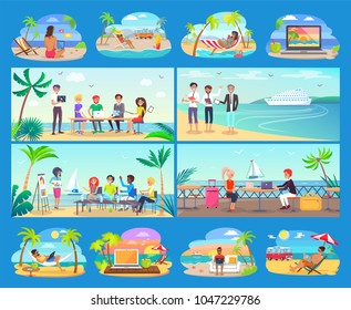 Freelancers work all around world in comfort set. People work near sea and ocean on modern laptops in hot countries cartoon vector illustrations set.
