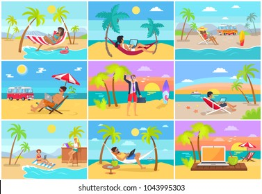 Freelancers work on laptops at tropical resorts. Freelance workers on sandy beach near sea do their job and relax in summer vector illustrations set.