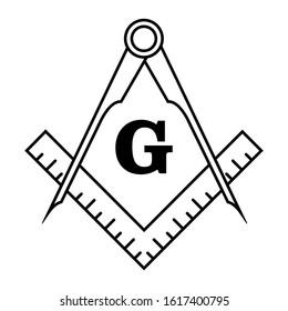 Freemason Symbol Logo Vector Isolated on White