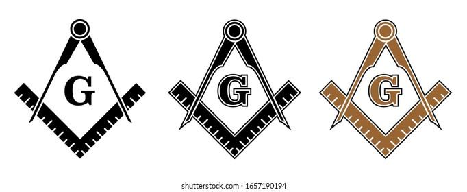 Freemason Symbol - Set of Freemason Icon Signs Isolated on White Background
