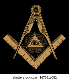 Freemason symbol Square and Compasses and eye of providence in shine. Vintage occult illustration print.
