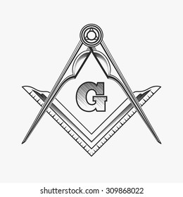 Freemasonry emblem logo with G great architect. Mystic occult symbol, esoteric and alchemy, vector illustration