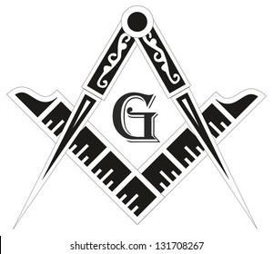 Freemasonry emblem - the masonic square and compass symbol, vector illustration