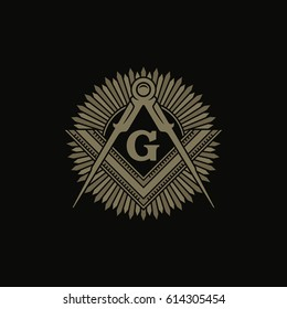 Freemasonry Flat Vector Symbol / Square And Compasses