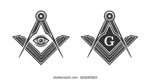 Freemasonry vintage logo. Freemason, Mason, Illuminati conspiracy logo template. Vector illustration