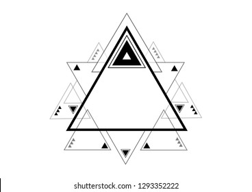 Freemasons modern technocratic logo with pyramid and star typical design. Vector Art.