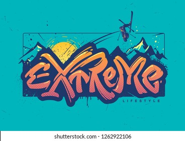 Freeride. Print for the ski resort. Lettering on topic extreme