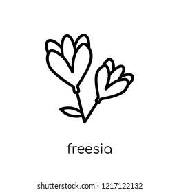 Freesia icon. Trendy modern flat linear vector Freesia icon on white background from thin line nature collection, editable outline stroke vector illustration
