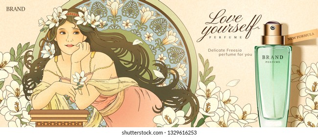 Freesia perfume ads with mucha style goddess holding flowers