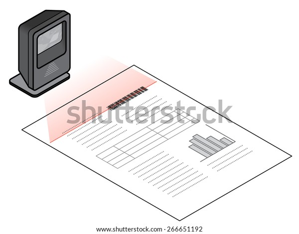 Freestanding Desktop Barcode Scanner Scanning Barcode Stock Vector