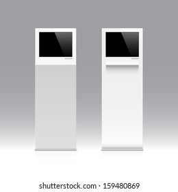 Freestanding information kiosk, terminal, stand. Vector.
