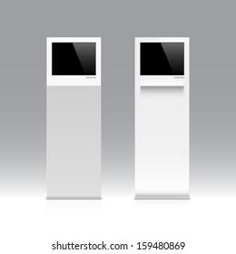 Freestanding information kiosk, terminal, stand. Vector.