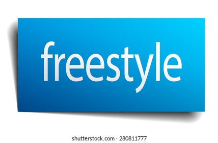 freestyle blue paper sign on white background