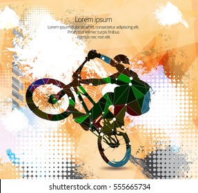 Freestyle cyclist, vector illustration