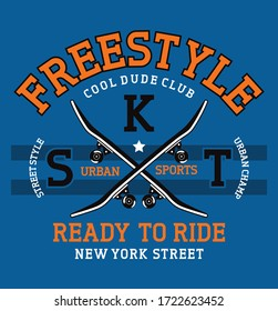 freestyle skateboard. ready to ride. new york Street. urban sports. graphic tees vector illustration design
