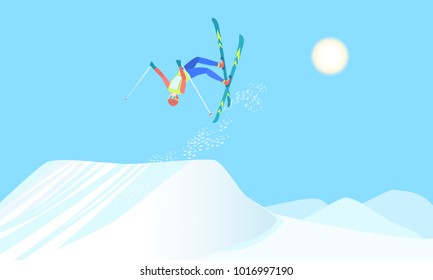 Freestyle skiing, winter sport that combines skiing and acrobatics. Skier over the springboard make ski somersault. Vector illustration EPS-8.